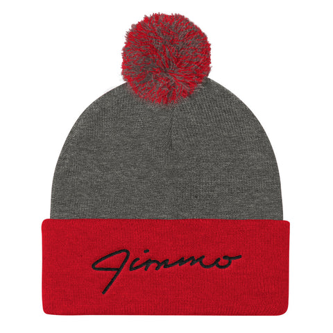 Jimmo Black Signature Embroidered Pom Pom Knit Cap (Unisex)