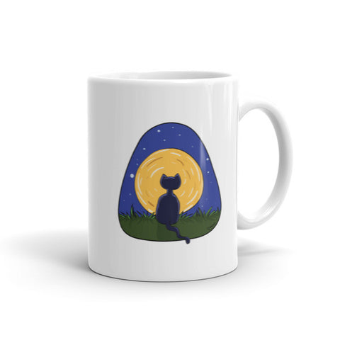 Cat and Moon - Cat Lovers Mug (White)