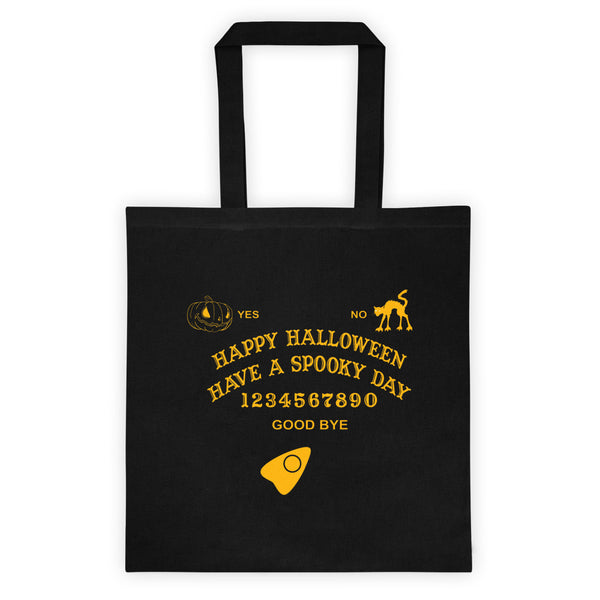 Cool and spooky! Spooky Ouija Board Halloween Trick Or Treat Reusable Tote Bag! Jimmo Designs original artwork adorns this reusable shopping bag. You cannot use the last year's candy, but you can certainly re-use this bag. Help save the planet and have enormous fun doing it!