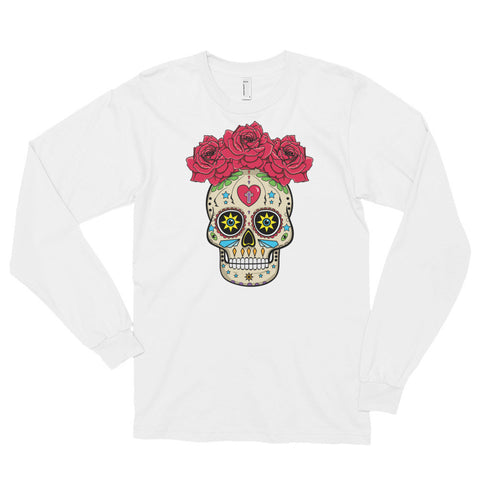 Sugar Skull With Roses - Long Sleeve T-Shirt (unisex)