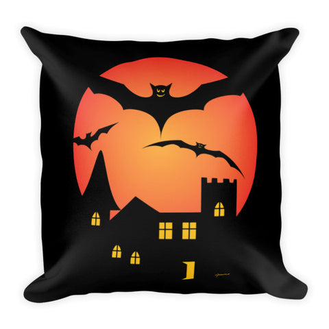 This Spooky Happy Halloween Throw Pillow featuring original art by Jimmo Designs will make your hair stand on end! Perfect unique gift for family, friends, baby sitters, bat lovers, movie goers, and pranksters who just want to keep it eerie and very creepy with spooky All Hallows eve home decor. Boo! Don't be frightened, order now!