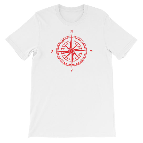 Red Compass Rose - Nautical Unisex Short Sleeve T-Shirt