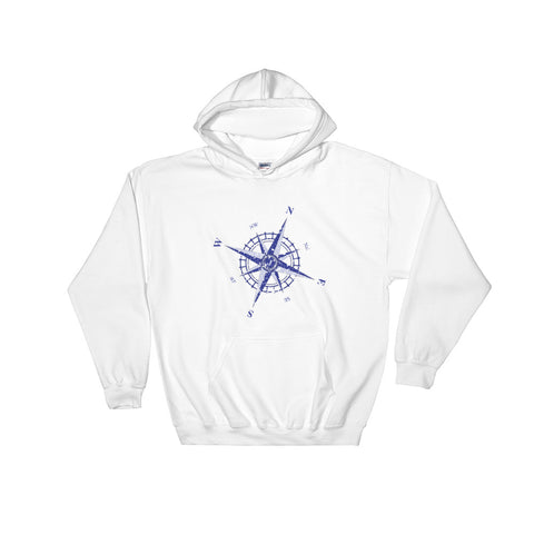 Weathered Compass Rose Nautical Hooded Sweatshirt (Unisex)