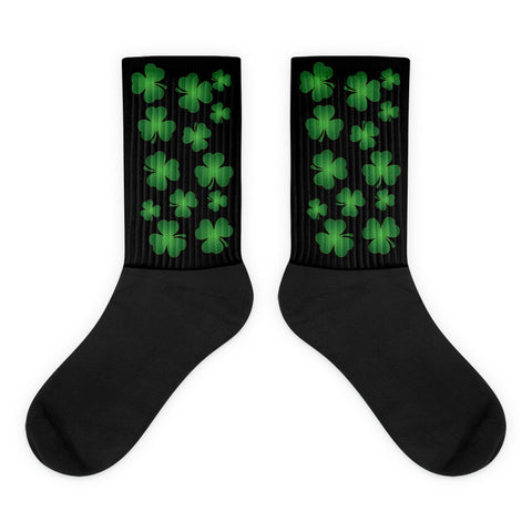 Irish Shamrock Medley - Black Foot Black Top (Unisex) Socks