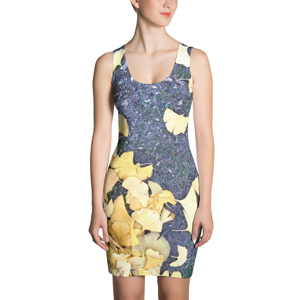 Jimmo Designs original! Beautiful shaft dress with dramatic design of fallen fan-shaped golden ginkgo leaves. The ginkgo tree is well known for its beauty and admired not only in Asia for its unusual resilience. Ginkgo was Goethe's favorite tree in Weimar! Wear this elegant dress late summer, fall or winter. Add a shawl and a necklace, and you are ready to go!