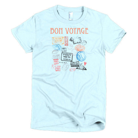 Bon Voyage Travel Passport Stamps Short Sleeve Women's T-Shirt