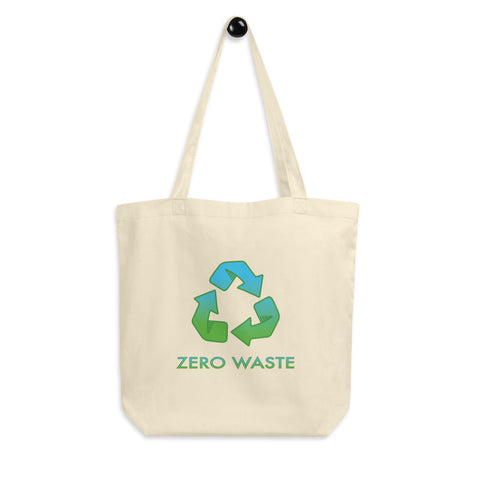 Zero Waste Recycling Symbol Reusable Eco Tote Bag. Ditch the plastic and embrace Zero Waste life with this attractive shopping tote bag by Jimmo Designs. Perfect gift for everybody who loves Nature and planet Earth.