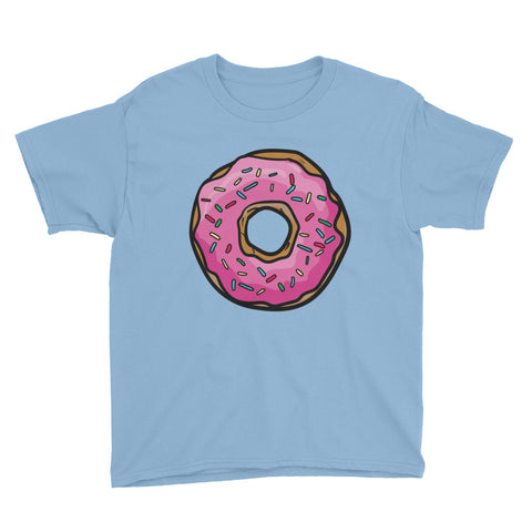Large Pink Doughnut Youth Short Sleeve T-Shirt