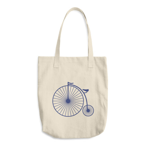 Vintage Blue Penny Farthing Bicycle - Reusable Shopping Cotton Tote Bag