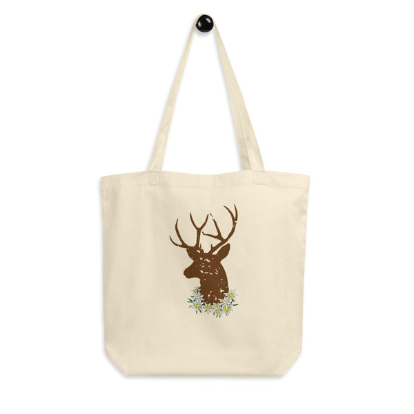 Get ready for the October Fest! Jimmo Designs original Stag And Edelweiss Flowers Oktoberfest Eco Tote Bag with Alpine edelweiss flowers and a head of a deer. Great for any environment conscious German beer lover.
