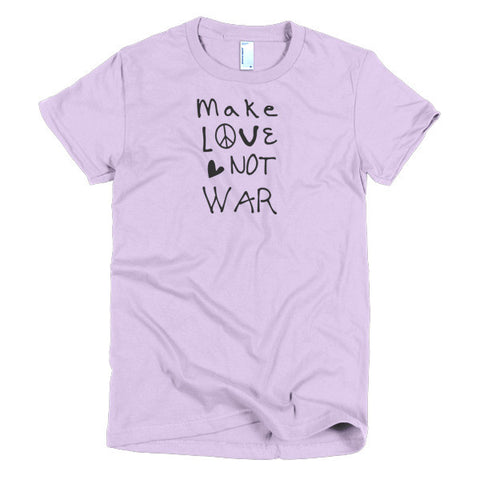 "Hippie ""Make Love Not War"" Pacifist Short Sleeve Women's T-Shirt"