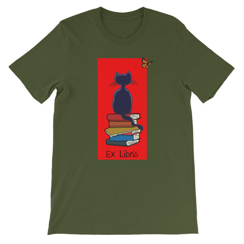Cat And The Books Ex Libris Short Sleeve T-Shirt For Book Lovers (Unisex)