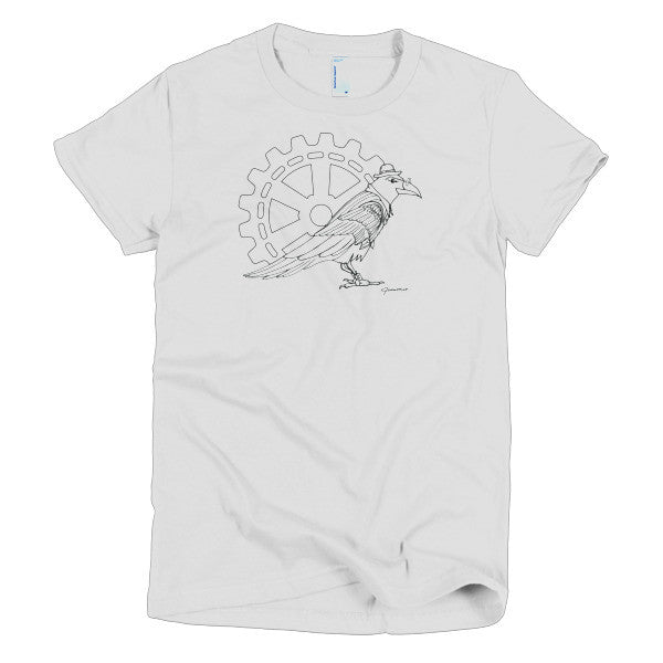 Steampunk Raven Guide - Line Art - Short Sleeve Women's T-Shirt