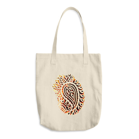 Indian Spice Market Paisley Wood Print Reusable Cotton Tote Bag