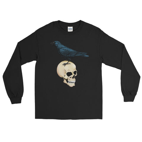 Jimmo Designs original Raven and Skull Long Sleeve Goth Unisex T-Shirt. Tales form the Rue Morgue! Incredibly Gothic, incredibly stylish, incredibly urban. Great not just for Halloween. Ornithologists, taxidermists, morticians, pathologists, E. A. Poe readers and friends of the Raven will love this unique design.