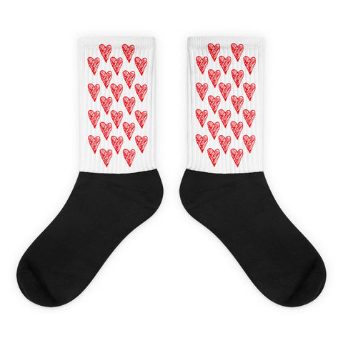 Red Hearts - Black Foot Unisex Socks