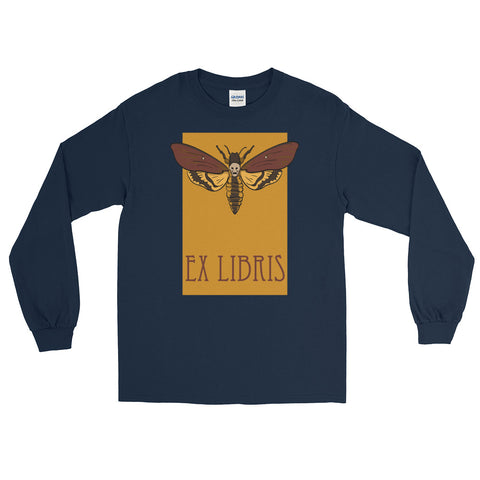 Hawkmoth Ex Libris Long Sleeve T-Shirt For Book Lovers (Unisex)