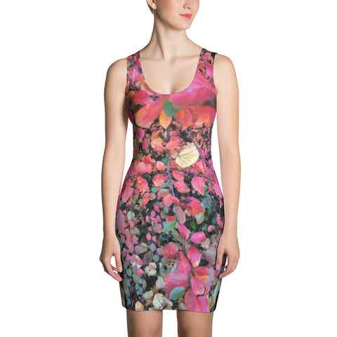Jimmo designs original Hot Pink Autumn Leaves Dress. Beautifully designed dress featuring colorful autumn leaves. Make a statement and look fabulous in this all-over printed, fitted dress.