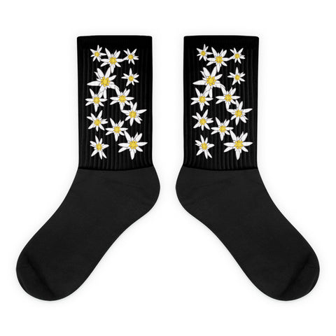 Oktoberfest Edelweiss Flowers Black Foot Socks