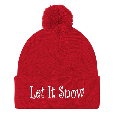 Let It Snow Embroidered Pom Pom Knit Cap (Unisex)