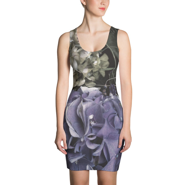Jimmo Designs original Faded Hydrangea Floral Dress. Unique hydrangea artwork adorns this gorgeous floral dress. Make a dramatic fashion statement and look fabulous in this all-over printed, fitted dress.