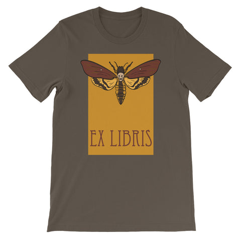 Hawkmoth Ex Libris Short Sleeve T-Shirt For Book Lovers (Unisex)