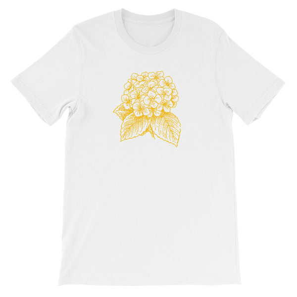 Golden Hydrangea - Unisex Short Sleeve Floral T-Shirt
