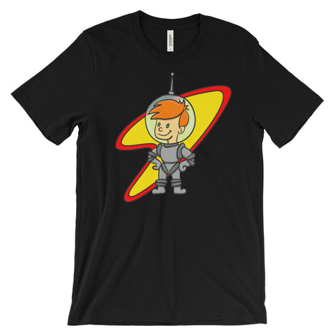 Jimmo Designs original Astro Kid Space Age Nostalgia T-Shirt for the young at heart. If you like vintage science fiction, retro futurism, and Space Age cartoons, you will love this little astronaut reminiscent of the 1960s space travel era. Great gift for adventure lovers, comic art collectors, science fiction readers, aspiring astronauts, time travelers, night sky watchers, hobby astronomers, geeks, and sci-fi cinema aficionados.