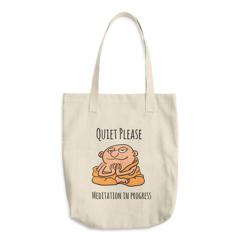 Quiet, Please! Meditation In Progress - Reusable Cotton Shopping Tote Bag