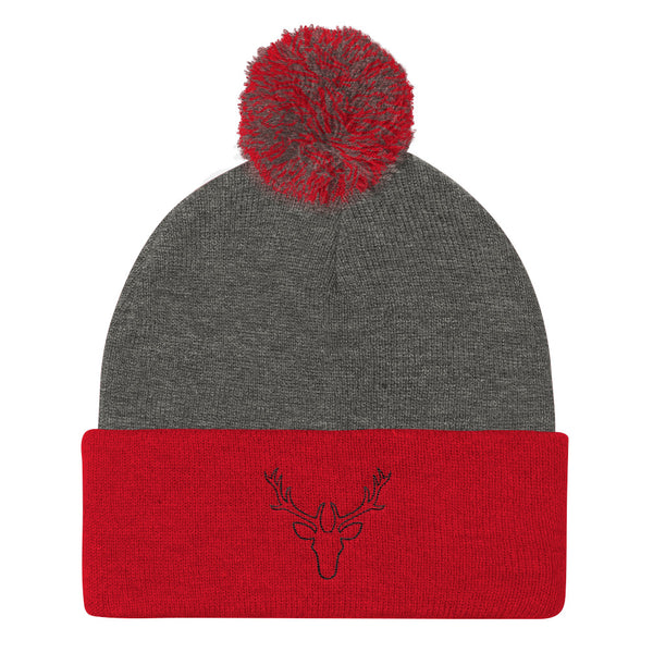 Black Stag Embroidered Pom Pom Knit Cap (Unisex)