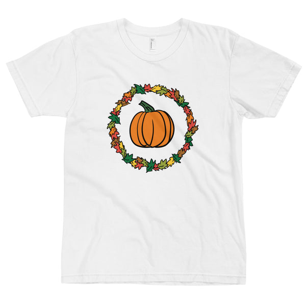 Pumpkin And Autumn Foliage Thanksgiving T-Shirt (Unisex)