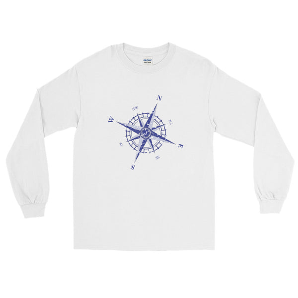 Weathered Compass Rose Nautical Long Sleeve T-Shirt (Unisex)