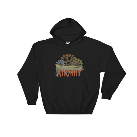 Steampunk Airship And Cogs Hooded Sweatshirt (Unisex)
