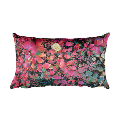 Hot Pink Autumn Leaves Rectangular Pillow