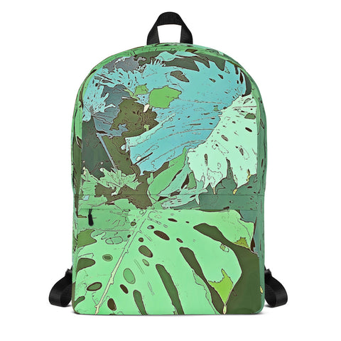 Tropical Dream Jungle Camouflage Backpack. For some of us the Summer is never over. Designed especially for the discerning lovers of wild adventures, exotic vacation and tropical plants, this over print beach backpack featuring colorful tropical Monstera foliage camouflage pattern will make you stand out in the crowd.