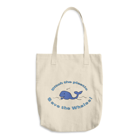 Ditch The Plastic Save The Whales Reusable Shopping Tote Bag