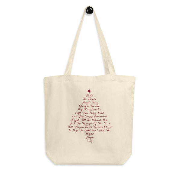 Christmas Tree Hark! The Herald Reusable Eco Tote Bag with a Christmas carol text
