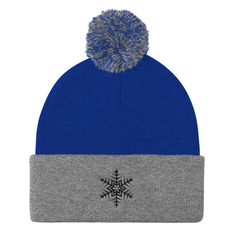 Black Snowflake Embrodered Pom Pom Knit Cap (Unisex)