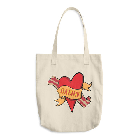 Bacon Heart Reusable Cotton Shopping Tote Bag For Bacon Lovers