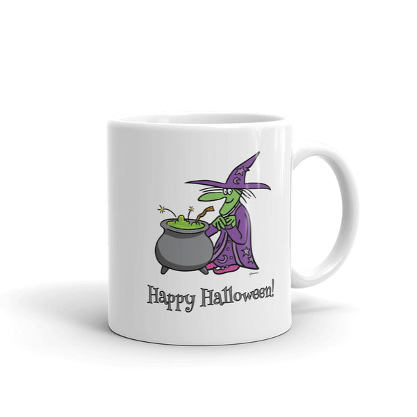 Jimmo Designs original Agatha and The Cauldron Halloween Mug. Agatha, the very kind witch and her Mystical Cauldron of Mysterious Mysteries are headed your way this Halloween. Keep an eye out for her. You never know what might happen if they are nearby.