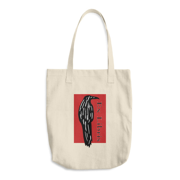 Black Raven Reusable Cotton Shopping Tote Bag For Book Lovers
