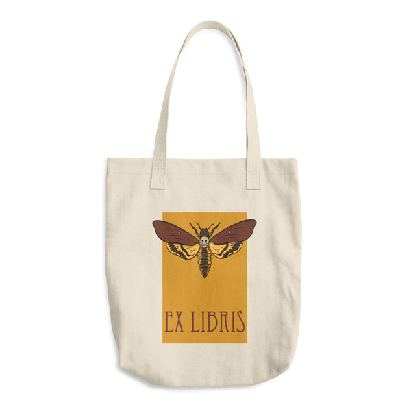 Hawkmoth Ex Libris Reusable Cotton Shopping Tote Bag For Book Lovers