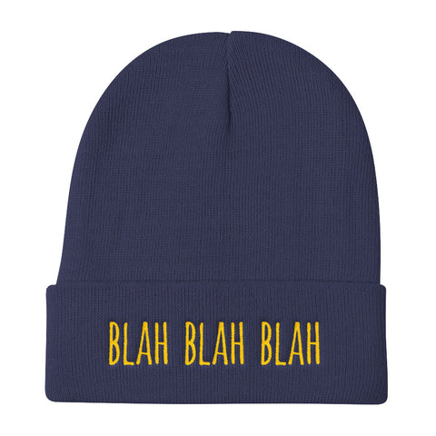 Blah Blah Blah Urban Dictionary Embrodered Knit Beanie (Unisex)