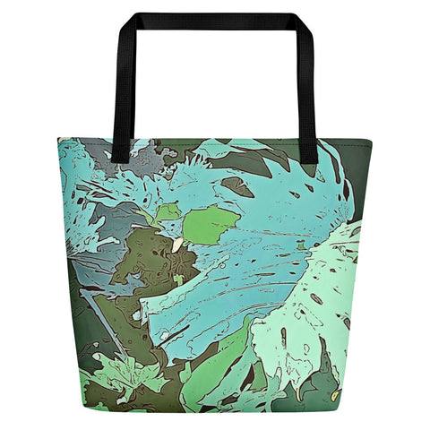 Tropical Dream Jungle Camouflage Beach Bag. For some of us the Summer is never over. Designed especially for the discerning lovers of wild adventures, exotic vacation and tropical plants, this over print beach bag featuring colorful tropical Monstera foliage camouflage pattern will make you stand out in the crowd on any beach.