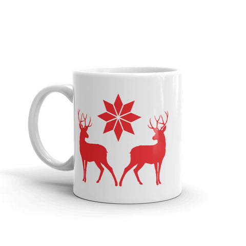 Nordic Style Deer And Star Christmas Mug
