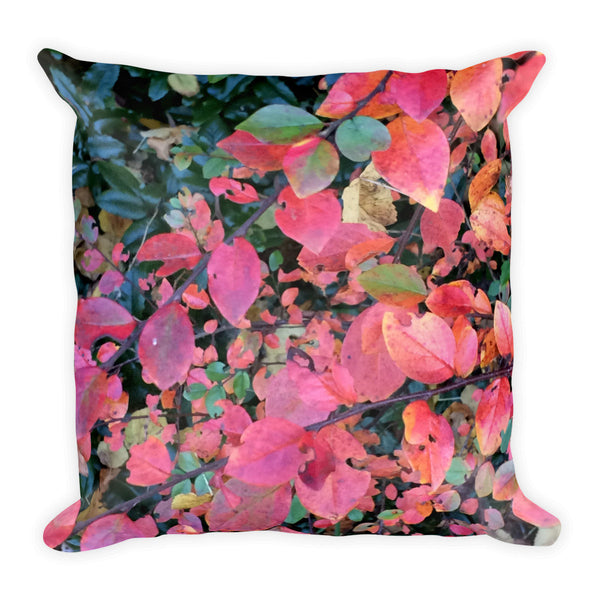Hot Pink Autumn Leaves Square Pillow