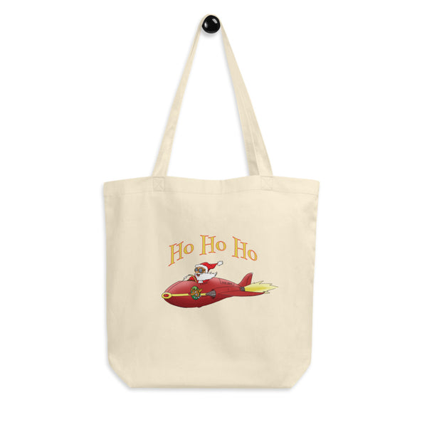 Ho Ho Ho Santa In A Jet Reusable Eco Tote Bag For The Holiday Season