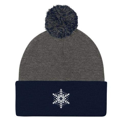 White Snowflake Embroidered Pom Pom Knit Cap (Unisex)