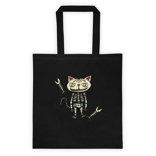 Wickedly cute Sugar Skull Cat! Probably the cutest cat ever! Inspired by Jimmo's orange cat Kira, this cat will make you smile. Great Halloween or Dia de Los Muertos gift for Mexican folk art lovers. Trick or treat and help save the planet with this reusable Halloween bag.