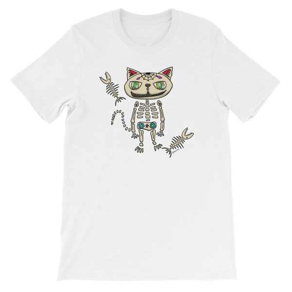 Sugar Skull Cat Short-Sleeve T-Shirt For Cat Lovers (Unisex)